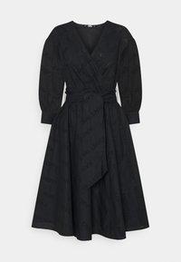 KARL LAGERFELD - LOGO EMBROIDERED SHIRT DRESS - Freizeitkleid - black - 0