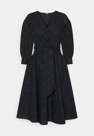 LOGO EMBROIDERED SHIRT DRESS - Sukienka letnia - black