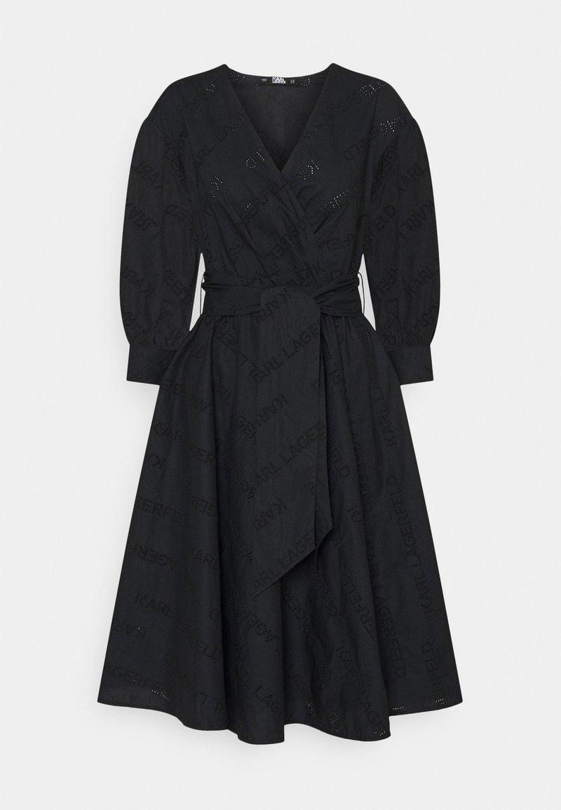 KARL LAGERFELD - LOGO EMBROIDERED SHIRT DRESS - Freizeitkleid - black