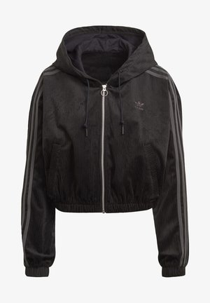 SPORTS INSPIRED HOODED TRACK TOP - Mikina na zip - black