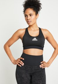 adidas Performance - DESIGNED4TRAINING WORKOUT BRA MEDIUM SUPPORT - Sport-bh met medium support - black - 0