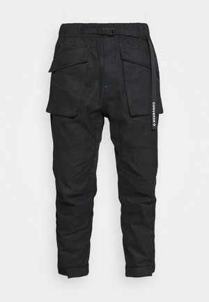 PANELED JOGGER - Cargo trousers - black