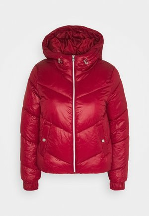 ONLHOLLY HOODED PUFFER JACKET - Jas - rhubarb