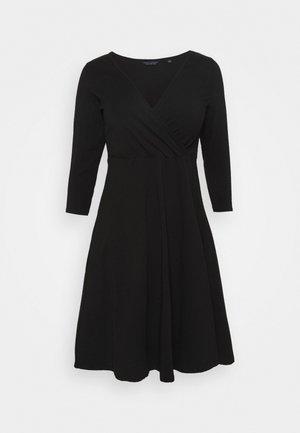 CURVE WRAP SLEEVE COBALT SPOT DRESS - Denní šaty - black