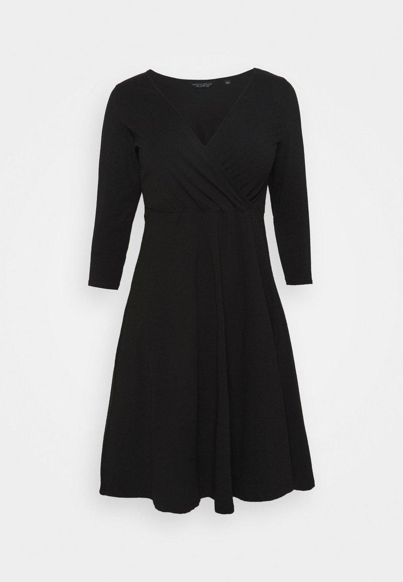 Dorothy Perkins Curve - CURVE WRAP SLEEVE COBALT SPOT DRESS - Sukienka z dżerseju - black