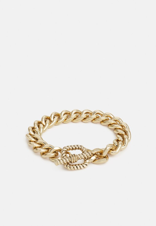 CHAIN BRACELET WITH TBAR TEXTURED CLASP - Bracelet - silver-coloured