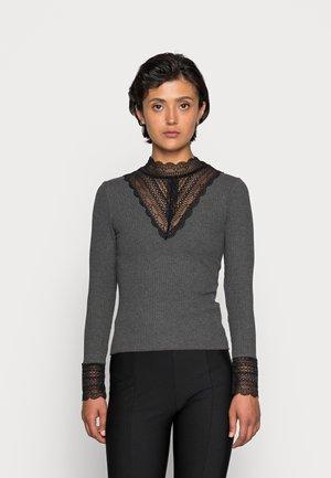 HIGH NECK  - Long sleeved top - dark grey melange/black lace