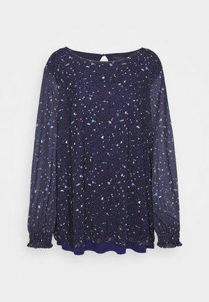 BLOUSE WITH PRINT - Blouse - navy