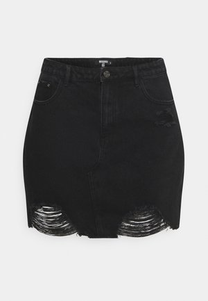 RIPPED SKIRT - Mini skirt - black
