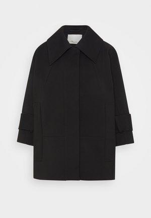 BOX CUT BRACELET SLEEVE RETRO COAT - Krátký kabát - black