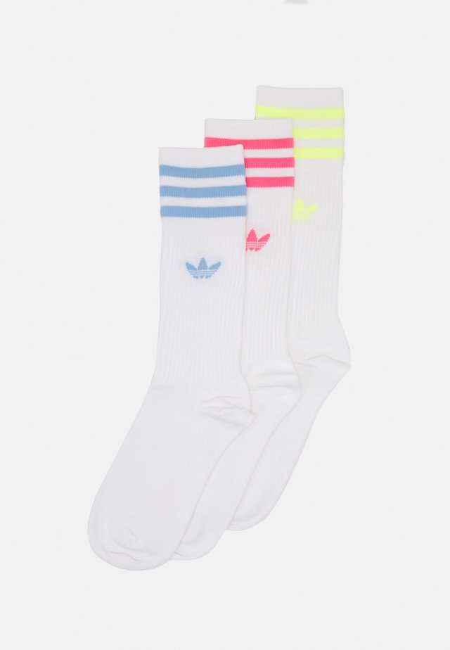 SOLID CREW SOCK UNISEX 3 PACK - Calcetines - white/pulse yellow/rose tone/ambient sky