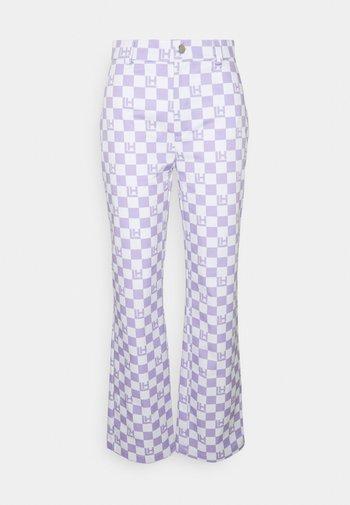 CHECK PANTS - Bukse - lavender/beige