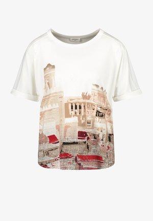 Print T-shirt - ecru/weiss/rot/orange patch