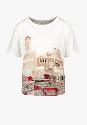 T-shirt con stampa - ecru/weiss/rot/orange patch