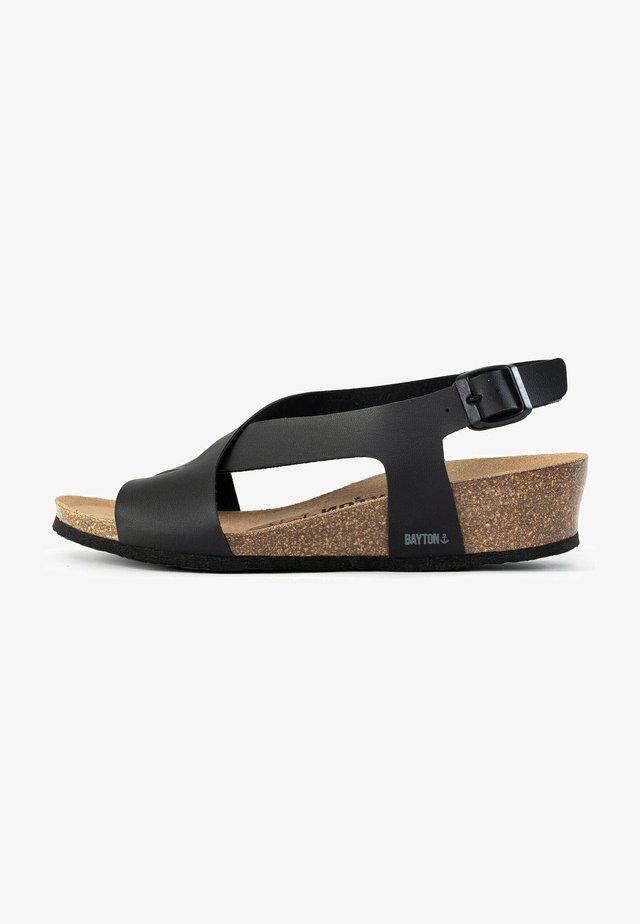 SALAMANQUE - Sandales compensées - black