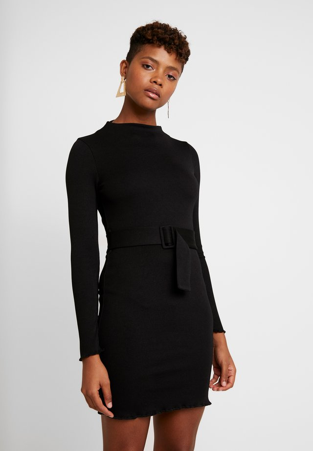 BELTED BODYCON MINI DRESS - Etuikleid - black