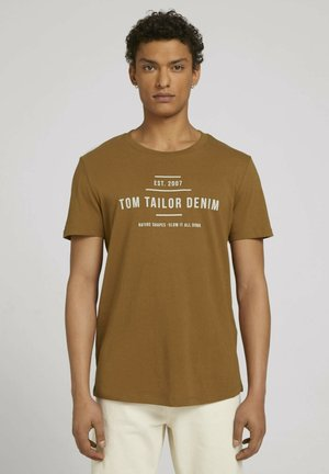 Print T-shirt - deep cognac