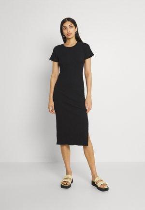 ESSENTIAL SPLIT SHORT SLEEVE MIDI DRESS - Denní šaty - black