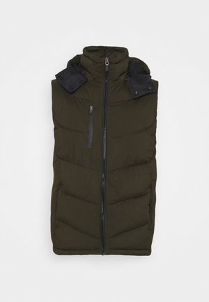 QUILTED HOODED BODYWARMER - Waistcoat - utility green