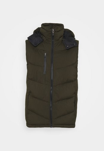 QUILTED HOODED BODYWARMER - Smanicato - utility green