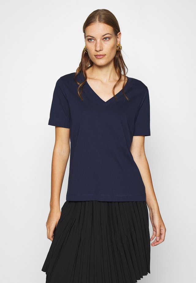 SLFSTANDARD V NECK TEE - T-shirt basic - maritime blue