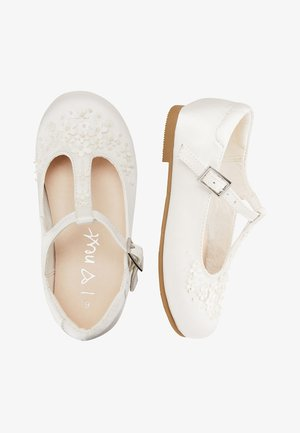 WHITE FLOWER T-BAR SHOES (YOUNGER) - Baby shoes - white