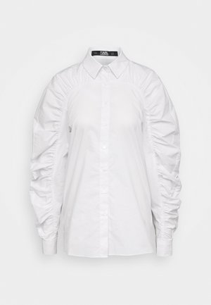 POPLIN BLOUSE GATHERING - Button-down blouse - white
