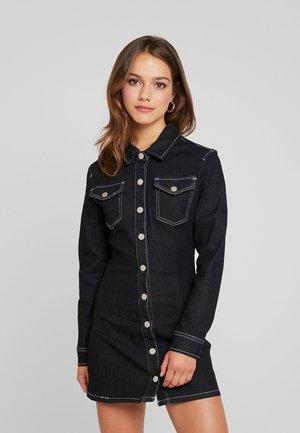 LONG SLEEVE BUTTON THROUGH FITTED DRESS - Robe en jersey - black