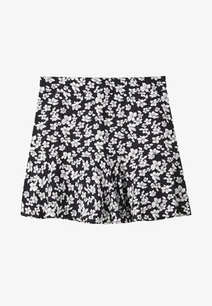 MIT BLUMENPRINT - A-line skirt - black