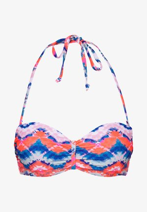 WIRE BANDEAU - Bikini top - blue/orange