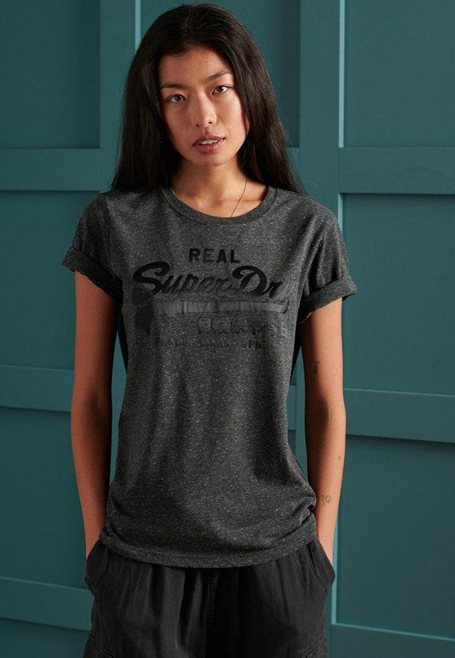 VINTAGE LOGO TONAL SATIN  - T-shirt imprimé - black snowy