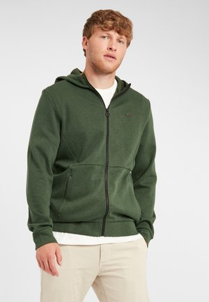 Zip-up hoodie - dark green melee