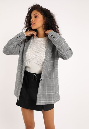 MIT KARO-PRINT - Short coat - schwarz