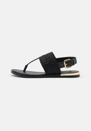 AMBER SLINGBACK FLAT THONG - T-bar sandals - black/shiny black