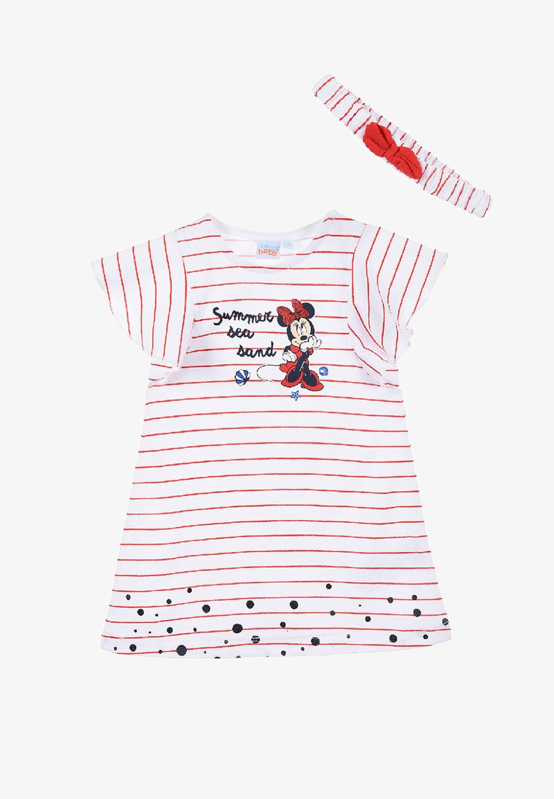 Mickey & Minnie - MINNIE MOUSE BABYKLEID MIT HAARBAND - Jersey dress - rot