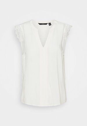 VMNADS LACE TOP COLOR - Blusa - snow white