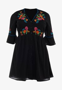 Simply Be - EMBROIDERED V NECK DRESS - Day dress - black - 5