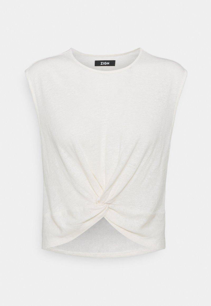 Zign - T-SHIRT-LINEN BLEND - Print T-shirt - off white