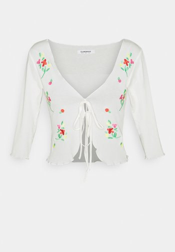 EMBROIDERED  WITH LETTUCE HEMS ELBOW LENGTH SLEEVES - Kardigan - cream