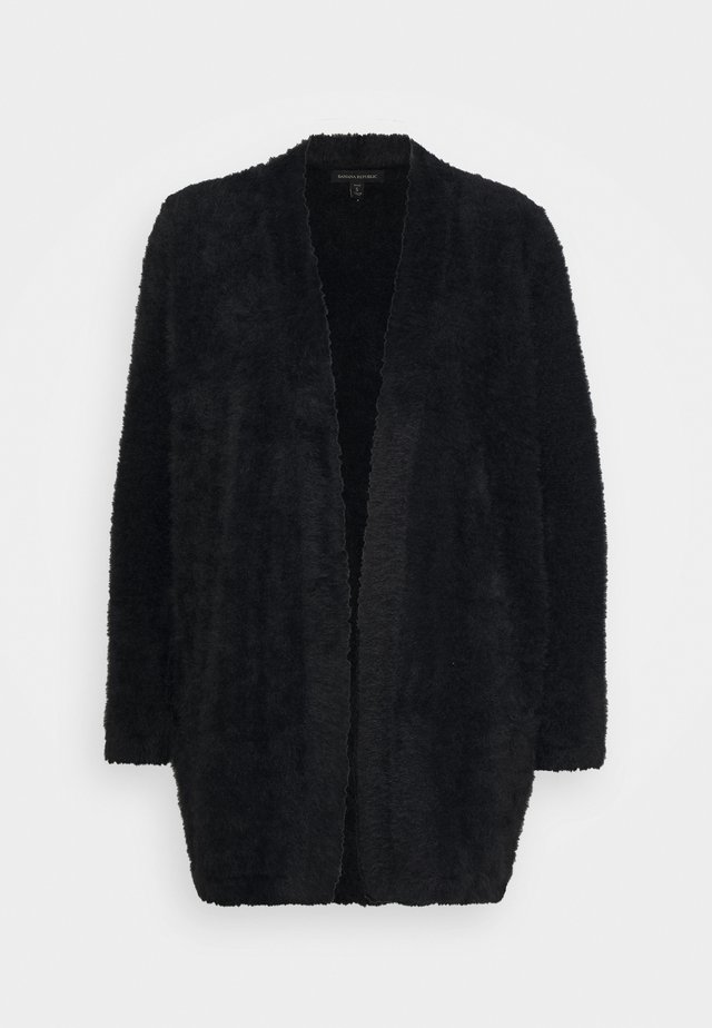 EYELASH MID OPEN FRONT - Cardigan - black