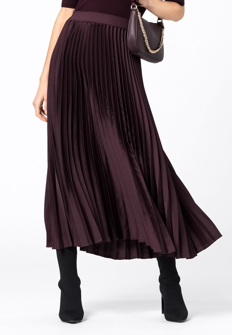 HALLHUBER - Pleated skirt - burgunder