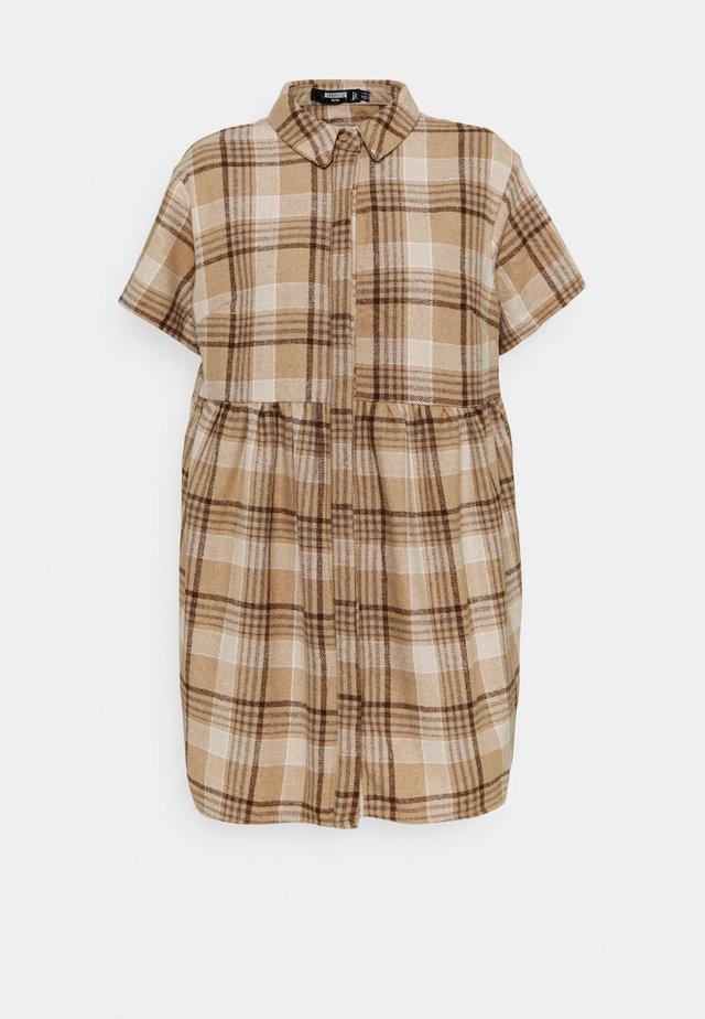 SMOCK DRESS CHECK - Shirt dress - stone