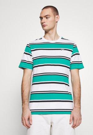 STRIPE TEE - Print T-shirt - white/neptune green/black