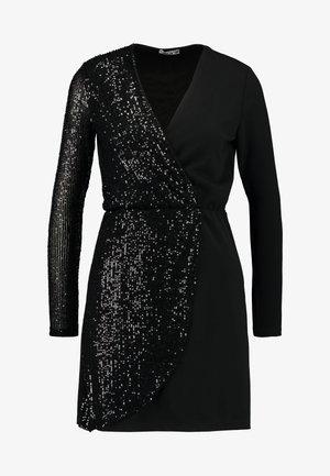 WRAP OVER LONG SLEEVE MINI DRESS - Juhlamekko - black