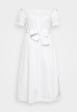 POPLIN TIE WAIST BARDOT - Day dress - white