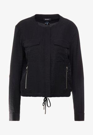 ROLL TAB ZIP FRONT - Summer jacket - black