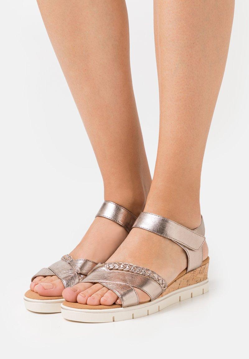 Caprice - Wedge sandals - taupe metallic