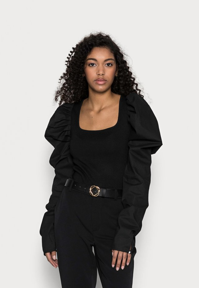 PUFF SLEEVE SQUARE NECK BODYSUIT - Long sleeved top - black