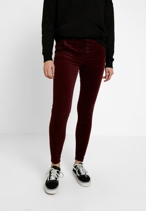 HIGH RISE FASHION - Kalhoty - burgundy