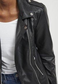 Vila - VICARA FAUX JACKET - Faux leather jacket - black - 3
